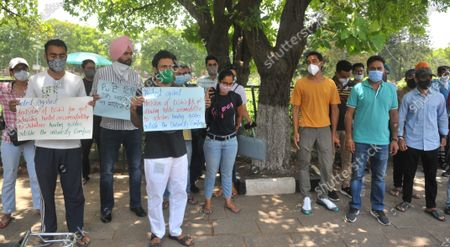 Editorial photo of Panjab University Research Scholars Protest Curbs On Hostel Accommodation, Chandigarh, India - 08 Jun 2021