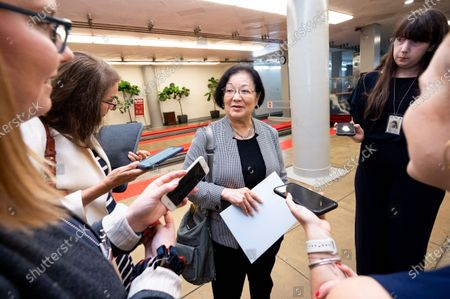 Stock Picture of U.S. Senator Mazie Hirono (D-HI) talks to reporters near the Senate Subway.