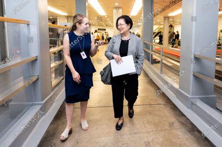 Stock Photo of U.S. Senator Mazie Hirono (D-HI) talks to a reporter near the Senate Subway.