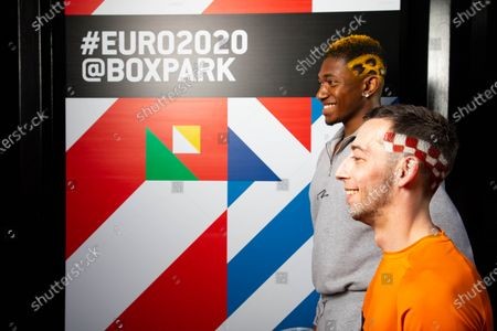 Editorial image of BOXPARK offers football fanatics the opportunity to have an iconic football-inspired haircut to celebrate the start of the Euros, London, UK - 03 Jun 2021