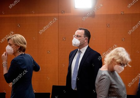German Health Minister Jens Spahn (C) and German Minister of Food, Agriculture and Consumer Protection Julia Kloeckner (L) are see before the weekly meeting of the German Federal cabinet in the conference hall of the Chancellery in Berlin, Germany, 09 June 2021.