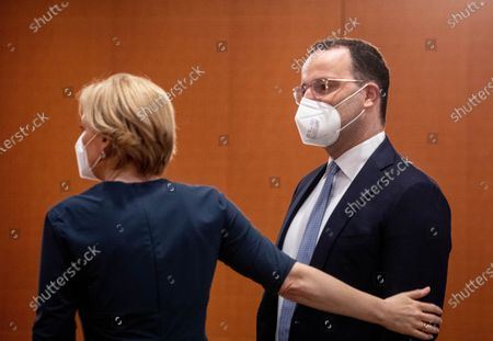 German Health Minister Jens Spahn (R) and German Minister of Food, Agriculture and Consumer Protection Julia Kloeckner will be seen before the weekly meeting of the German Federal cabinet in the conference hall of the Chancellery in Berlin, Germany, 09 June 2021.