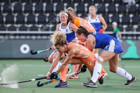Stock Picture of Maria Verschoor (L) of the Netherlands scores the 9-0 during the European Hockey Championship women's pool A match between the Netherlands and Scotland at the Wagener Stadium in Amstelveen, the Netherlands, 09 June 2021.