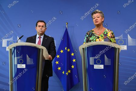 Greek Minister of Migration and Asylum Notis Mitarachi (L) and EU commissioner for Home Affairs Sweden's Ylva Johansson (R) hold a press conference after their meeting at the EU headquarters in Brussels, Belgium, 09 June 2021.