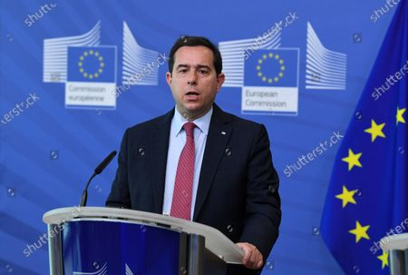 Greek Minister of Migration and Asylum Notis Mitarachi holds a press conference after his meeting with EU commissioner for Home Affairs at the EU headquarters in Brussels, Belgium, 09 June 2021.