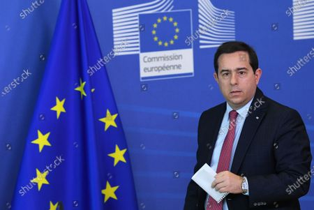Greek Minister of Migration and Asylum Notis Mitarachi arrives for a press conference after his meeting with EU commissioner for Home Affairs at the EU headquarters in Brussels, Belgium, 09 June 2021.