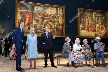 Stock Photo of Dr Tristram Hunt, Director of the V&A, Camilla Duchess of Cornwall and Director of the V&A, Nicholas Coleridge viewing the Raphael Cartoons in the Raphael gallery at The V&A on June 09, 2021 in London, England.