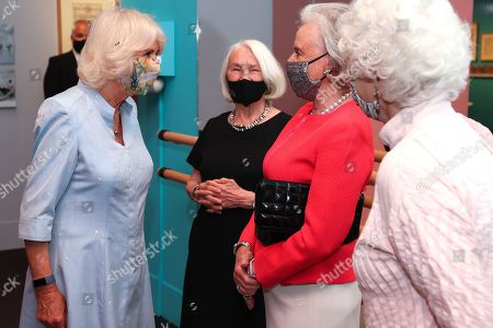 Stock Picture of Camilla Duchess of Cornwall speaks with Lady Anya Sainsbury and Dame Monica Mason at The V&A on June 09, 2021 in London, England.