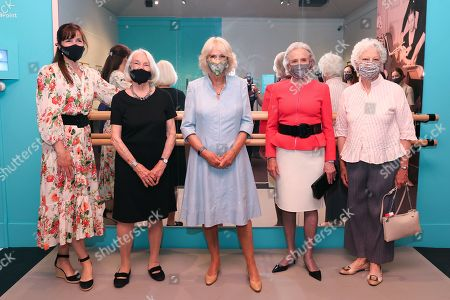 Dame Darcey Bussell, President of the Royal Academy of Dance, guest, Camilla Duchess of Cornwall, Lady Anya Sainsbury and Dame Monica Mason pose outside the 'On Point: Royal Academy of Dance at 100' at The V&A on June 09, 2021 in London, England.