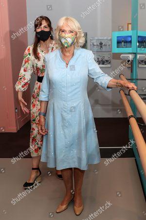 Camilla, Duchess Of Cornwall visits 'On Point: Royal Academy Of Dance At 100' at the V&A, London