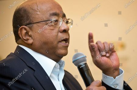 """Mo Ibrahim, Chairman and Founder of the Mo Ibrahim Foundation, answers a question from a journalist at a press conference where the winner of the 2014 Ibrahim Prize for Achievement in African Leadership was announced, in Nairobi, Kenya. Ibrahim, in a June 2021 interview with The Associated Press, is sharply criticizing the hoarding of COVID-19 vaccines by wealthy nations, urging the international community to """"walk the talk"""" of equitable distribution as Africa desperately lags behind"""