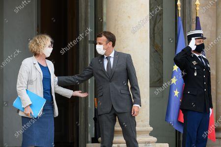 Stock Image of Muriel Penicaud and Emmanuel Macron.