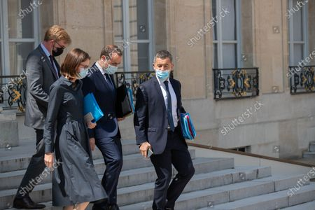 French Minister of State for Relations with Parliament Marc Fesneau, French Minister for Transformation and Public Services Amelie de Montchalin, French Overseas Minister Sebastien Lecornu and French Interior Minister Gerald Darmanin leave after the weekly cabinet meeting at Elysee Palace.