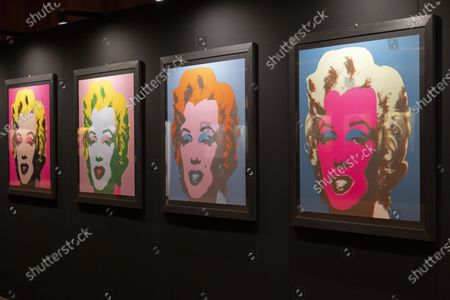 Portraits of Marilyn Monroe by US artist Andy Warhol are on display during a press tour of the exhibition 'Andy Warhol - Pop Art Identities' at the Auditorium Stravinski 2m2c in Montreux, Switzerland, 09 June 2021. The show runs from 10 June to 29 August 2021.