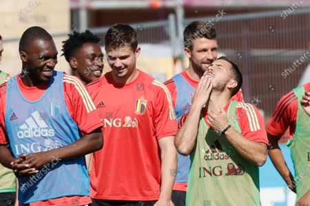 Belgium's Christian Benteke, Belgium's Leander Dendoncker and Belgium's Eden Hazard pictured during a training session of the Belgian national soccer team Red Devils, in Tubize, Wednesday 09 June 2021. The team is preparing for the upcoming Euro 2020 European Championship.