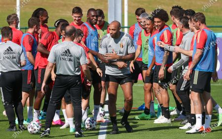 Belgium's assistant coach Thierry Henry (C) and Belgium's players pictured during a training session of the Belgian national soccer team Red Devils, in Tubize, Wednesday 09 June 2021. The team is preparing for the upcoming Euro 2020 European Championship.