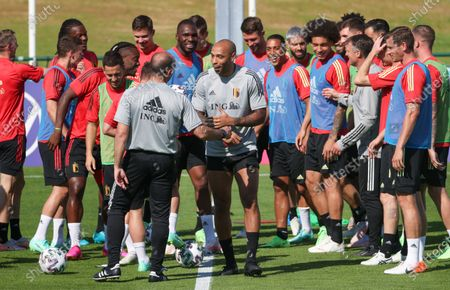 Stock Image of Belgium's assistant coach Thierry Henry (C) and Belgium's players pictured during a training session of the Belgian national soccer team Red Devils, in Tubize, Wednesday 09 June 2021. The team is preparing for the upcoming Euro 2020 European Championship.