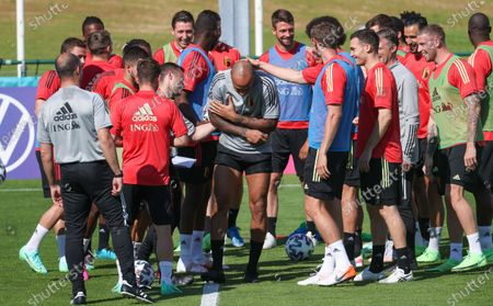 Stock Photo of Belgium's assistant coach Thierry Henry (C) and Belgium's players pictured during a training session of the Belgian national soccer team Red Devils, in Tubize, Wednesday 09 June 2021. The team is preparing for the upcoming Euro 2020 European Championship.