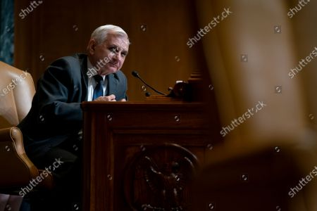 Senator Jack Reed (D-RI) speaks during a Senate Appropriations Subcommittee on Commerce, Justice, Science, and Related Agencies hearing at the Dirksen Senate Office building in Washington, DC, USA, 09 June 2021.