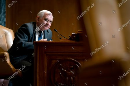 Sen. Jack Reed, D-R.I., speaks during a Senate Appropriations Subcommittee on Commerce, Justice, Science, and Related Agencies hearing, on Capitol Hill in Washington