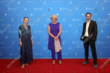 Berlinale Executive Director Mariette Rissenbeek, Federal Commissioner for Culture and Media Monika Gruetters and Berlinale Artistic Director Carlo Chatrian attend the Opening Ceremony and 'The Mauritanian' premiere during the 71st Berlin International Film Festival (Berlinale) Summer Special at the Museumsinsel (Museum Island) in Berlin, Germany, 09 June 2021. Due to the coronavirus COVID-19 pandemic, the 71st Berlinale is taking place in two stages: a virtual Industry Event, that was held from 01 to 05 March 2021, and the Summer Special for the general public running from 09 to 20 June 2021 as an outdoor-only event.