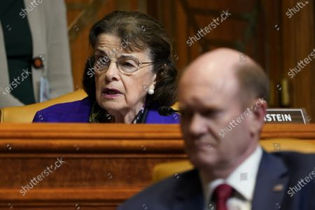 Sen. Dianne Feinstein, D-Calif, (L), speaks during a Senate Appropriations Subcommittee on Commerce, Justice, Science, and Related Agencies hearing with Attorney General Merrick Garland, on Capitol Hill in Washington DC, Wednesday, June 9, 2021. Sen. Christopher A. Coons, D-Del., listens at right. Pool photo by Susan Walsh/UPI