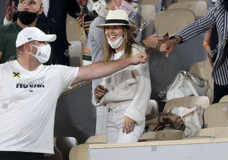 Jelena Djokovic, wife of Novak Djokovic of Serbia, laughing after his victory