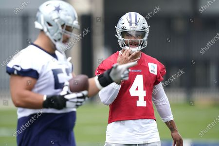 Dallas Cowboys quarterback Dak Prescott (4) during an NFL football team practice, in Frisco, Texas