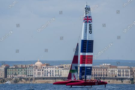 Stock Picture of Great Britain SailGP Team helmed by interim skipper Paul Goodison in action on Race Day 2 at the Italy SailGP, Event 2, Season 2 in Taranto, Italy.