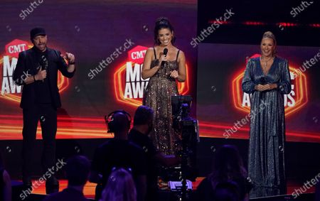 Stock Photo of Cody Alan, from left, Ashley ShahAhmadi and Katie Cook introduce a performance by Lauren Alaina and Jon Pardi at the CMT Music Awards at the Bridgestone Arena, in Nashville, Tenn