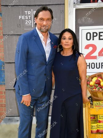 """Actors Jimmy Smits, left, and Wanda De Jesus attend the 2021 Tribeca Film Festival opening night premiere of """"In the Heights"""" at the United Palace theater, in New York"""