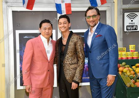 """Director Jon M. Chu, left, actor Gregory Diaz IV and actor Jimmy Smits pose together at the 2021 Tribeca Film Festival opening night premiere of """"In The Heights"""" at the United Palace theater, in New York"""