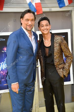 """Actors Jimmy Smits, left, and Gregory Diaz IV attend the 2021 Tribeca Film Festival opening night premiere of """"In The Heights"""" at the United Palace theater, in New York"""