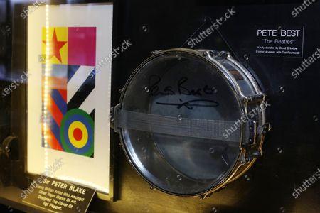 Drum signed by Pete Best, early member of The BeatlesArtwork by Sir Peter BlakeMathew Street