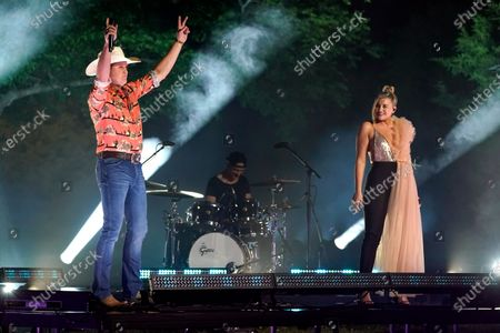 """Stock Picture of Jon Pardi, left, and Lauren Alaina perform """"Getting Over Him"""" at the CMT Music Awards, in Franklin, Tenn. The awards show airs on June 9 with both live and prerecorded segments"""