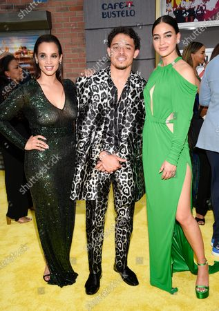 """Actors Dascha Polanco, left, Anthony Ramos and Melissa Barrera pose together at the 2021 Tribeca Film Festival opening night premiere of """"In The Heights"""" at the United Palace theater, in New York"""