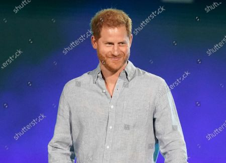 """Prince Harry, Duke of Sussex, speaks at """"Vax Live: The Concert to Reunite the World"""" in Inglewood, Calif. Prince Harry took a break from paternity leave to """"spread the news"""" about his Invictus Games. The Duke of Sussex announced in an Instagram post, that the Invictus Games will take place in Düsseldorf, Germany, in 2023"""