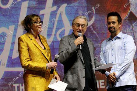 Jane Rosenthal, Robert De Niro, Lin-Manuel Miranda