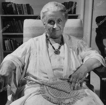 Educator Maria Montessori in affable portrait.