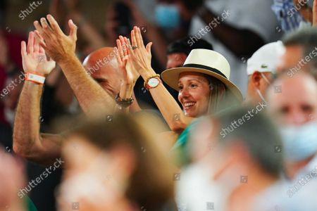 Stock Picture of Novak Djokovic's wife, Jelena Djokovic celebrates his victory