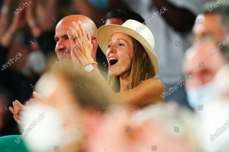 Stock Image of Novak Djokovic's wife, Jelena Djokovic celebrates his victory