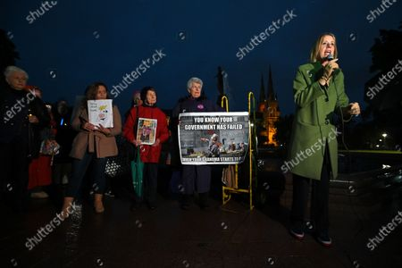 Stock Picture of Shadow Minister for Home Affairs Kristina Keneally (R) speaks during a vigil for Tamil refugee family from Biloela, Sydney, Australia, 10 June 2021. Three-year-old Tharnicaa is being treated for a blood infection at Perth Children's Hospital after being evacuated from Christmas Island with her mother Priya Murugappan. Sri Lankan couple Priya and Nades Murugappan and their Australian-born daughters Kopika and Tharunicaa, are detained on Christmas Island waiting for the court outcome.