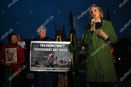 Shadow Minister for Home Affairs Kristina Keneally speaks during a vigil for Tamil refugee family from Biloela, Sydney, Australia, 10 June 2021. Three-year-old Tharnicaa is being treated for a blood infection at Perth Children's Hospital after being evacuated from Christmas Island with her mother Priya Murugappan. Sri Lankan couple Priya and Nades Murugappan and their Australian-born daughters Kopika and Tharunicaa, are detained on Christmas Island waiting for the court outcome.