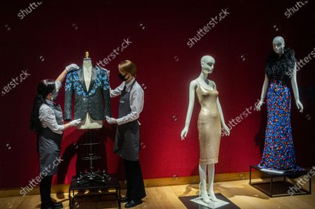 The oak leaf 'Glamouflage' jacket made for Mick Jagger at the L'Wren Scott Collection to celebrate L'Wren Scott' legacy with the proceeds being donated to further fund the L'Wren Scott Scholarship at Central St. Martins set up by Mick Jagger in 2015
