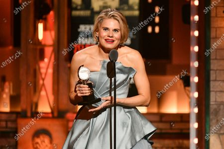 """Celia Keenan-Bolger accepts the award for best performance by an actress in a featured role in a play for """"To Kill a Mockingbird"""" at the 73rd annual Tony Awards at Radio City Music Hall, in New York. Fans of the Broadway adaptation of """"To Kill a Mockingbird"""" will get a treat when the show restarts on Broadway in fall 2021, as Jeff Daniels and Keenan-Bolger, two of the play's original stars, are returning"""