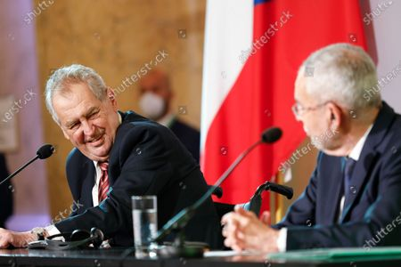 The president of the Czech Republic Milos Zeman, left, and Austrian President Alexander Van der Bellen, address the media during a joint press conference after their meeting at the Hofburg palace in Vienna, Austria