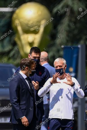 French President Macron visits football training camp, Clairefontaine-en-Yvelines