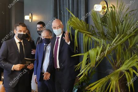 French President Emmanuel Macron, left, meets FIFA president Gianni Infantino, right, and French Football Federation (FFF) president Noel Le Graet, center, during the inauguration of the Hotel de La Marine Museum, in Paris, France, 10 June 2021. The building, located at Concorde square in Paris, designed by French architect Ange-Jacques Gabriel, hosted the Marine Headquarters from 1789 until 2015.