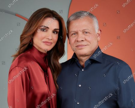 Stock Picture of Her Majesty Queen Rania with His Majesty King Abdullah II on the occasion of their wedding anniversary