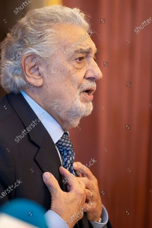 The tenor Placido Domingo and Marta Ornelas receives the title of 'Honorary Ambassador of the World Heritage of Spain', on 10 June, 2021 at the Teatro Real, Madrid, Spain.